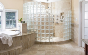 marvellous_photos_of_glass_block_showers_with_white_bathtub_white_window_frames_brown_ceramic_tiles_floor_towel.jpg
